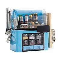 ナイフラック/ショベルフック/食器棚/シーズンラック/ポットラック、防水・防塵、簡単にクリーンで5-IN-1スパイスラック、蓋付きの多機能キッチンスパイスボックス、,ブルー