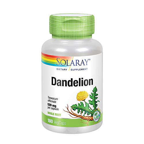 Solaray Dandelion Root 520mg   Healthy Liver, Kidney, Digestion & Water Balance Support   Whole Root   Non-GMO, Vegan & Lab Verified   180 VegCaps