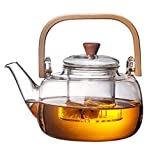 EEYZD - Tetera floreciente de Vidrio de 1000 ml / 34 oz con infusor de Vidrio Transparente Botella de té Segura para Estufa para té de Hojas Sueltas y té de Flores FL