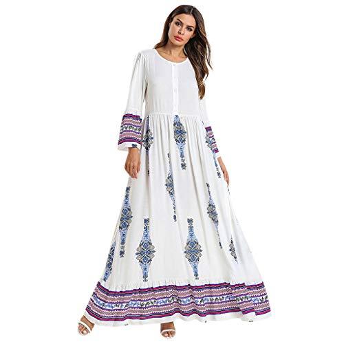 Sayhi Muslim Embroidery Print Dresses Arabian Traditional Muslim Loose Dress Middle Eastern Longsleeve Long Dress (White,XXXXL)