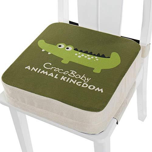 Kinder Sitzkissen Sitzerhöhung Stuhl, Fansu Baby Tragbar Sitzkissen Cartoon Quadratische Verstellbar Zerlegbar Kleinkinder Esszimmerstuhl ErhöHen Pad Esszimmer Boostersitze (40x40x10cm,Krokodil)