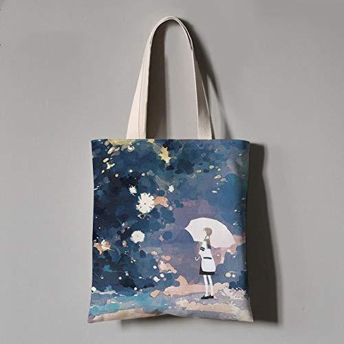 YUANOMWJ Bolsa de lona de algodón, elegante paraguas con diseño de flores,...