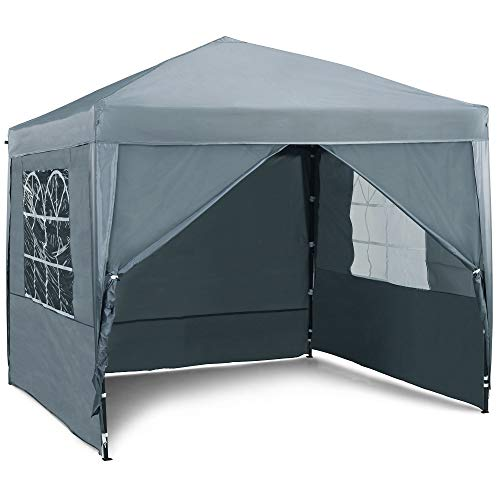 VonHaus Pop Up Gazebo 2.5x2.5m Set – Outdoor Garden Marquee with Water-resistant Cover & Leg Weight Bags - Grey Colour