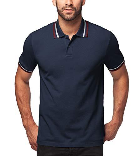 LAPASA Herren 100% Baumwolle Polo Pique Polo Shirt Kurzarm mit Polokragen MEHRWEG M019 (M, Navy(mit Streifen))