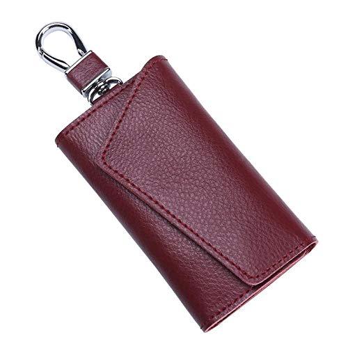 Car Key Chain Leder Autoschlüssel Tasche Frauen Multi-Funktion Schlüsselanhänger Leder Taille hängen, [Litchi Korn] Wein rot