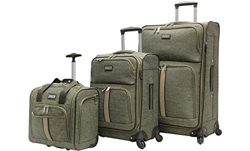 Nicole Miller 3 Pcs Softside Luggage Collection - Expandable Lightweight Suitcase Set Includes 15 Inch Under Seat Bag, 20 Inch Carry On & 28 Inch Suitcase with Spinner Wheels (Cameron Green)