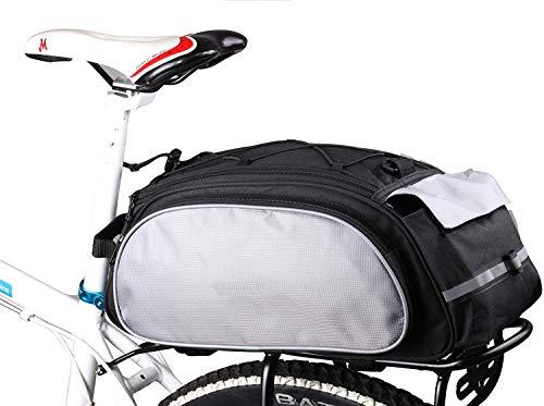SIVENKE Fahrradtasche Gepäckträgertasche Satteltasche 20L Packtasche Fahrrad Tasche mit Schultergurt, Schwarz