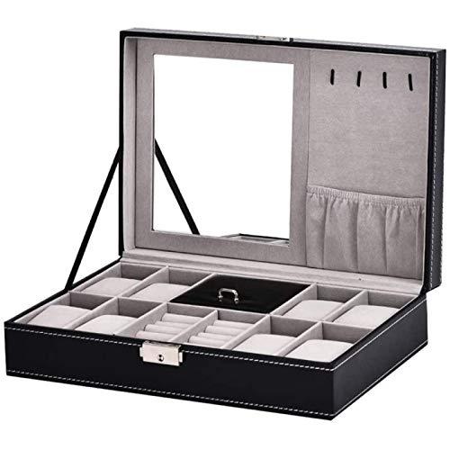 ANZRY Caja de Almacenamiento de Reloj 8 Rejillas Reloj de Madera Vitrina de Joyería Hombres Mujeres Bandeja de Pulsera Estuche de Regalo de Cuero PU