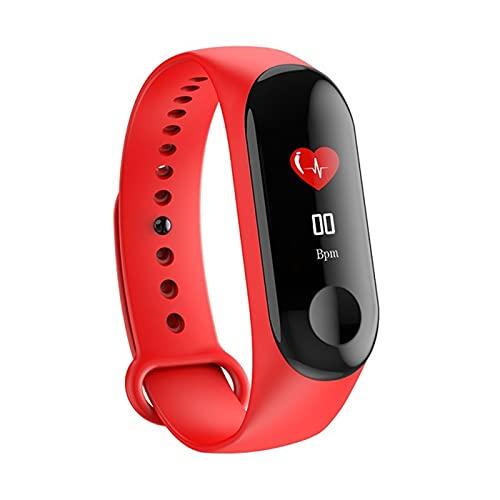 Hombres Smart Sports Watch Presión Arterial Monitor De Ritmo Cardíaco Monitor Mensaje Bluetooth Menores Impermeables Hombres Y Mujeres Pulsera Muñeca para Niños(Color:Rojo)