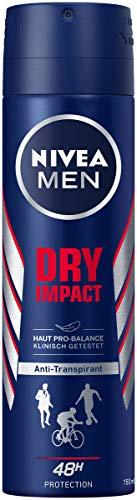 NIVEA MEN Dry Impact Deo Spray (150 ml), Antitranspirant für ein trockenes Hautgefühl, Deodorant mit 48h Schutz