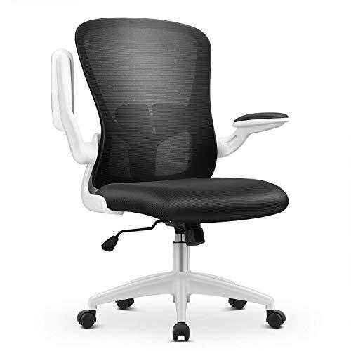 MFAVOUR Bürostuhl, Bürostuhl Ergonomisch, Schreibtischstuhl, Höhenverstellbarer Chefsessel Drehstuhl mit Hochklappbaren Armlehnen, Verstellbare Lendenstütze, Weiß, Bürostühle bis 110 kg/242lbs