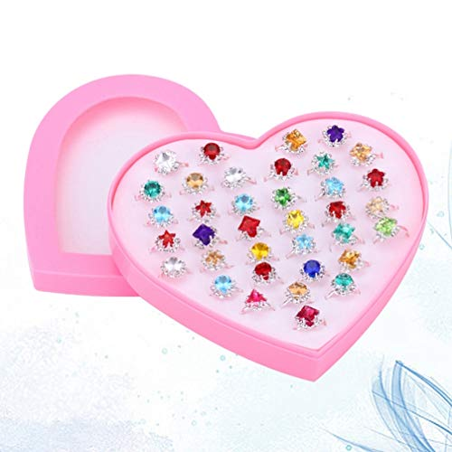 TOYANDONA Juego de 36 Anillos Ajustables para Niñas Anillos de Gemas de Diamantes de Imitación para Niñas con Caja en Forma de Corazón para Niñas Anillos de Fantasía de Juego Y Disfraces