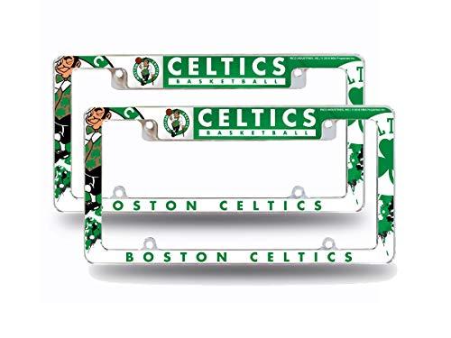 Rico Boston Celtics NBA (Set of 2) Chrome Metal License Plate Frames with Bold Full Frame Design