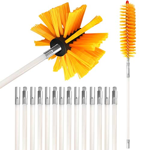 20 Feet Dryer Vent Clean Brush Flexible Lint Trap Brush Lint Remover Dryer Duct Cleaning Kit with 15 Nylon Flexible Rods Strong Synthetic Brush Head and Storage Bag Used with or Without Power Drill