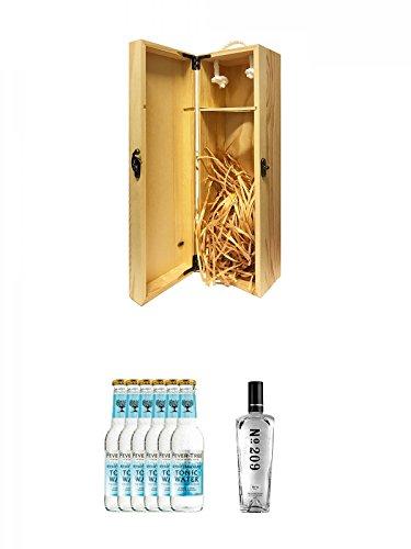 1a Whisky Holzbox für 1 Flasche mit Hakenverschluss + Fever Tree Mediterranean Tonic Water 6 x 0,2 Liter + No. 209 Gin 0,7 Liter