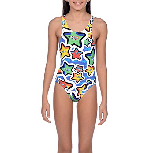 Arena G Jr Tech Back One Piece L Bañador Deportivo Niña Frolic, Niñas, Royal-Multi,...