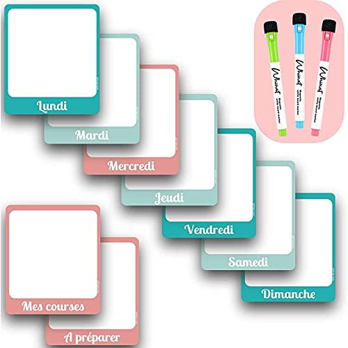 Pizarra magnética (9 piezas) - Para la cocina / Menú / Lista de tareas / Lista de la compra / Tareas / Revisión - Planificador / Agenda / Organizador / Planificador / Calendario semanal familiar