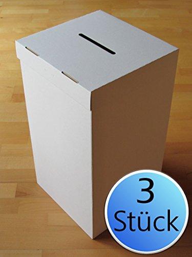 3er-Pack: Wahlurne aus Karton/Pappe Standard + 30 Plomben