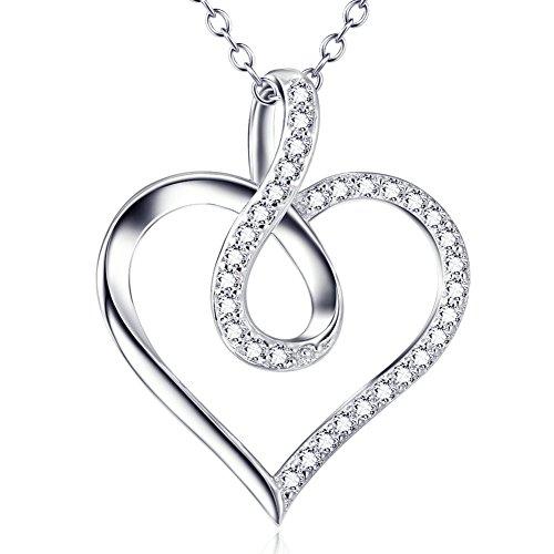 Damen Halskette Herzanhänger Unendlich Zeichen - Silberkette in 925 Sterling Silber - Kette mit Infinity Unendlichkeit Anhänger mit Zirkonia