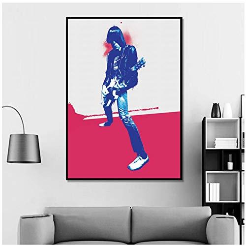 Desconocido Póster de música de Johnny Ramone, de Hip Hop, con impresión en Lienzo, no es un Marco