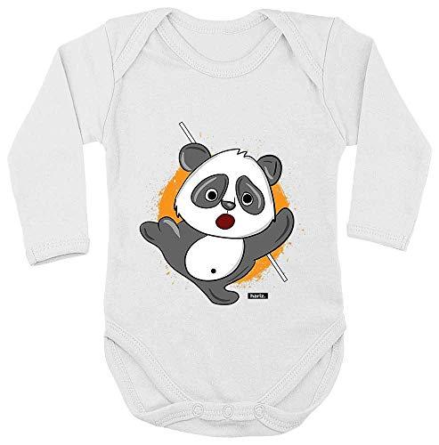 HARIZ Body de manga larga para bebé con diseño de oso panda Samurai, animales del zoo Plus, tarjetas de regalo, diente de leche, color blanco, 86-92