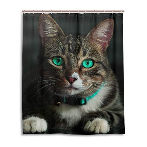 LUPINZ Duschvorhang mit Katzenmotiv, wasserfest, 152,4 x 182,9 cm