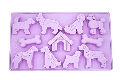 Jsmhh Hundeform-Silikon-Form, Eiswürfel, Gelee, Kekse, Schokolade, Süßigkeiten, Backblech (Dog Home)