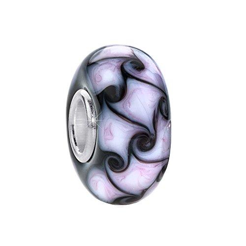 MATERIA Murano Glas Beads Anhänger Kringel 925 Silber schwarz lavendel für Beads Armband #1711