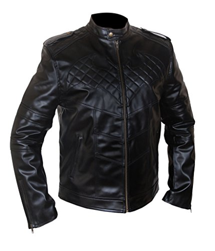 F&H Men's Batman Christian Bale Genuine Leather Quilted Details Jacket 2XL Black