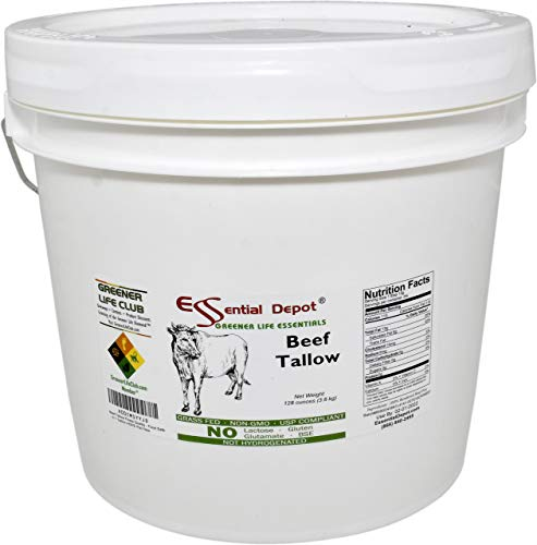 Beef Tallow - 8 lbs in 1 Gallon Pail - GRASS FED - Non-GMO - Not Hydrogenated - UPS Compliant - Free from Lactose-Gluten-Glutamate-BSE - HDPE microwavable container, resealable lid & removable handle