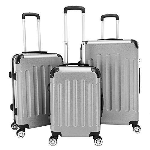 Best Buy! QCSJ 3 Piece Travel Luggage Set ABS Multifunctional Large Capacity Traveling Storage Suitc...