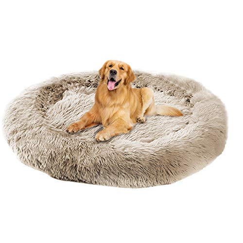 fireowl Calming Dog Bed,Fluffy Cushion Cuddle Cozy Pet Sofa Round Bed Sleeping Dog Bed Cave,Warm Plush Cuddler Soft Puppy Sofa Cat Cushion Cave Anxiety Dog bed,Dog Sofa Bed(120cm,Beige Brown)