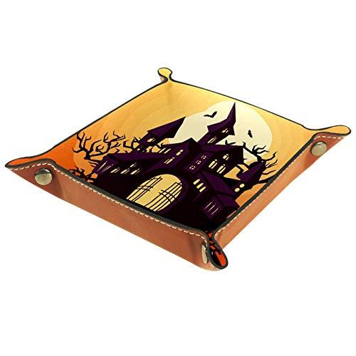 MUMIMI Schmucktablett aus Leder für Frauen und Mädchen, quadratisch, für Halloween, Trick oder Leckereien, Leder, Farbe2, 20.5x20.5cm