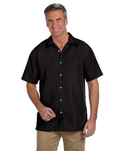 Harriton Men's Barbados Textured CampShirt XS BLACK