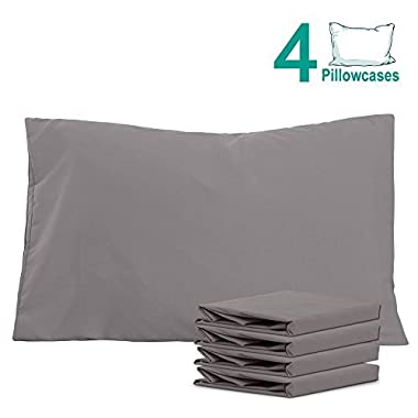 NTBAY 100% Brushed Microfiber Pillowcases Set of 4, Soft and Cozy, Wrinkle, Fade, Stain Resistant, 20 x 30 , Dark Grey