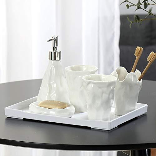 ZHQHYQHHX Bianco Ceramica Bagno Set Accessori Con Vassoio di Bambù di Archiviazione Spazzolino Porta Spazzolino Porta Frete Gratis Accessori Bagno Set (Colore: Bianco, Dimensioni: Gratis)