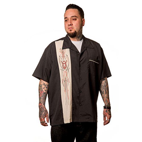 Steady Clothing Vintage Bowling Hemd - V8 Pinstripe Panel Retro Bowling Shirt (XXL)