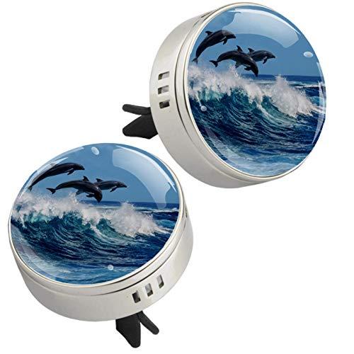 MUOOUM Dolphin Sea Ocean - Ambientador para coche, aroma de coche, aroma a océano, color plateado