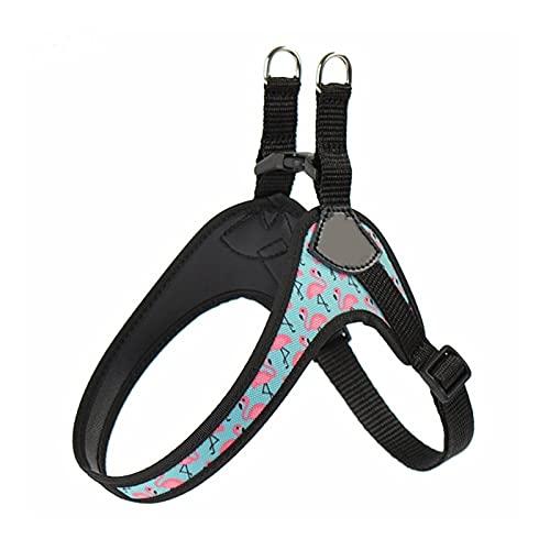 DZSW Cmdzsw Arnés para perro fácil y cómodo estampado de flamencos pequeño arnés para mascotas (color Flamingo S306, tamaño: 1,5)