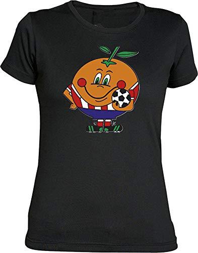 Camiseta Chica Naranjito del Atleti Camisetas Colchoneras ATM (M, Negro)