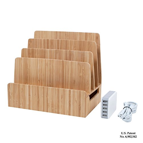 MobileVision Bamboo Charging Station & Multi Device Organizer Slim Version w/ 5-USB Port Charger Included for Smartphones, Tablets, and Laptops