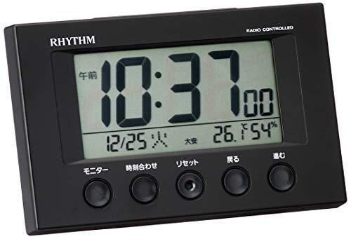 『リズム(RHYTHM) 目覚まし時計 電波時計 温度計・湿度計付き フィットウェーブスマート 黒 7.7×12×5.4cm 8RZ166SR02』の1枚目の画像