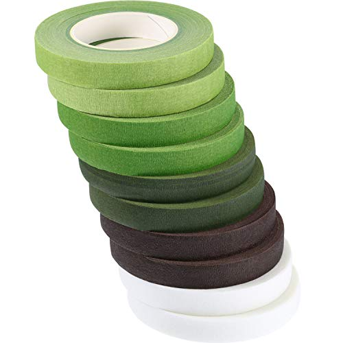 10 Rolls Floral Tapes Christmas Floral Adhesives with 5 Colors, 0.5 Inch Wide by 30 Yard for Bouquet Stem Wrap Florist Tapes Flowers Making Tapes (Dark Green, Green, Grass Green, White, Coffee Brown)