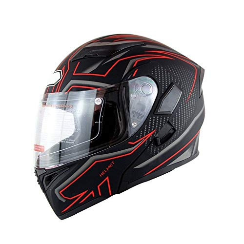 Stella Fella Helmets Men Double Lens Electric Motorcycle Helmet Adult Men And Women Safety Helmet Breathable Comfort Anti-dazzle Helmet - Red Stripes (Size : XXL)