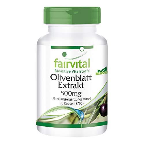 Olivenblatt-Extrakt 500mg - HOCHDOSIERT mit 20% Oleuropein - VEGAN - Olea europaea - 90 Kapseln