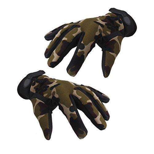 Männer Militärische Taktische Airsoft Schießen Volle Fingerhandschuhe (Camouflage, M)