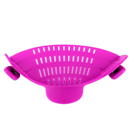 Pot Colanders, 8.7X4.7In Hands-Free Kitchen Filter Colanders Houseuse for Spaghetti, Pasta, Ground Beef Grease, Colander Ground Beef Pasta(Purple)