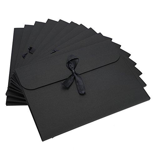 封筒 角形封筒 無地 クラフト封筒 10枚入り レターセット リボン付き おしゃれ ビジネス封筒 大きめ CD/DVD/カード/葉書きホルダー 書類入れ 収納ケース 保存用 紙袋 ギフトバッグ 24*18*0.7cm ブラック