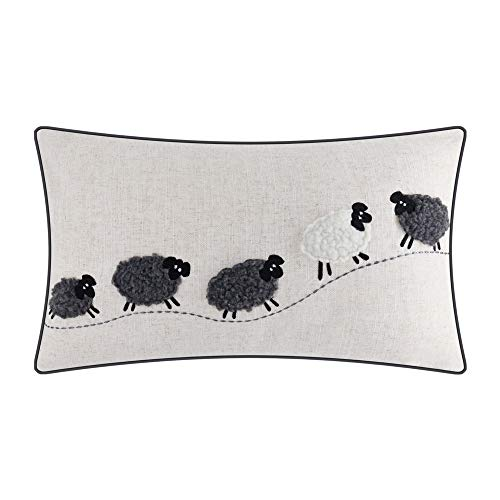 JWH Sheep Applique Accent Pillow Case Cashmere Cushion Cover Handmade Pillowcase for Home Sofa Car Bed Living Room Office Chair Decor Pillowslip 12 x 20 Inch Linen