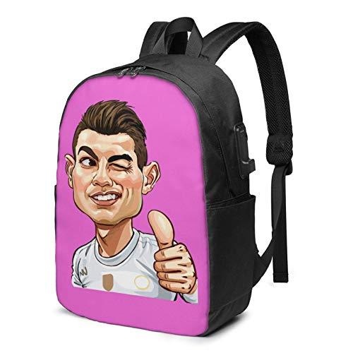 IUBBKI Bolsa para computadora mochila USB C-Ri-Stia No-R-Ona-Ldo 17 Inch Laptop Backpack For Men & Women,Travel/School Backpack With Usb Charging Port & Headphone Interface
